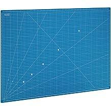 MAXKO base de corte 90 x 60 cm , azul, autocicatrizante, sistema métrico / tabla para cortar / cartapacio / A1 / escuadra 15° - protección para cuchillas y mesas de trabajo