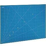 MAXKO Schneidematte 90 x 60 cm , blau, selbstheilend, metrische Einteilung - mit 2 Jahren Geld-zurück-Garantie - Schneideunterlage / Schreibtischunterlage / A1 / 90x60 / Winkelmaße 15° - Klingen bleiben scharf und Arbeitsflächen werden geschützt