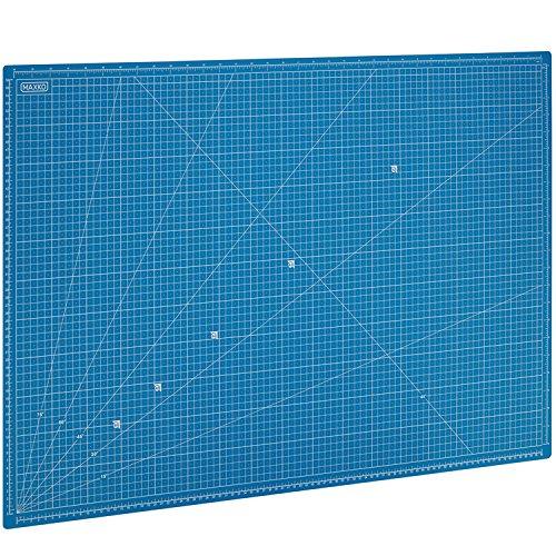 MAXKO Schneidematte 90 x 60 cm , blau, selbstheilend, metrische Einteilung - mit 2 Jahren Geld-zurück-Garantie - Schneideunterlage / Schreibtischunterlage / A1 / 90x60 / Winkelmaße 15° - Klingen bleiben scharf und Arbeitsflächen werden geschützt (Scrapbooking Zurück)