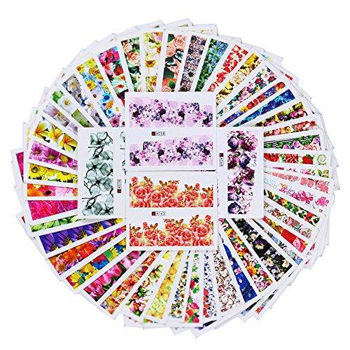 Born Pretty 50 Sheets Nail Art Sticker Flower Rose Daisy Dream Manicure Water Transfer Decal DIY Decoration -