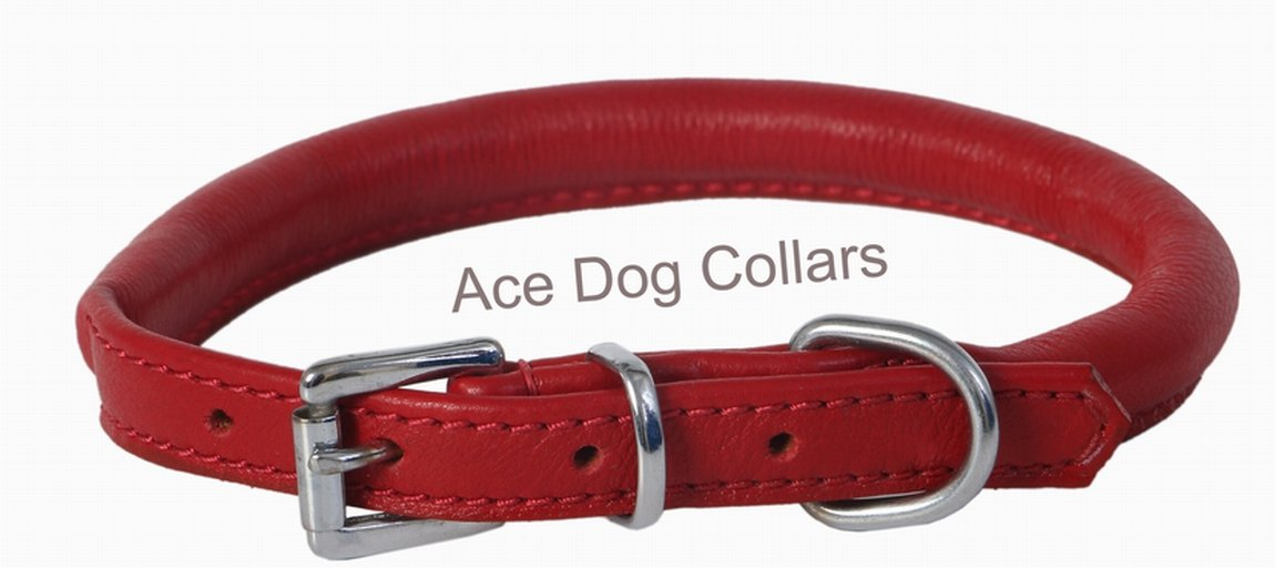 Ace Dog Collars Soft Best Rolled Leather Dog Collar Maroon: (18″ Collar- will fit 14″ to 16″ (8 mm thick).