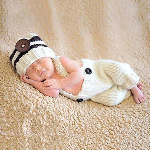 HAPPY ELEMENTS 2 PC Neugeborenes Baby Mädchen Jungen Häkelarbeit Strick Kostüm Foto Fotographie Stütze Ausstattung (Milch (Kostüme Milch)