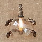 LIYAN minimalistische Wandleuchte Wandleuchte E26/E27 Industrial Style Wand Lampen Retro kreative personalisierte Dekoration licht Restaurant und Bar, loft Bügeleisen Art glass pipe Wandleuchte