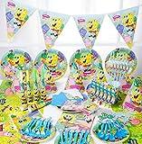 SDFAF Vajilla desechable Tema de Dibujos Animados Paquete de cumpleaños Suministros para Fiestas para niños Conjunto Baby Raw Necesidades diarias Arreglo de decoración Baño de bebé Juego de 90 Piezas