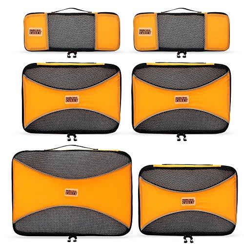 PRO Packing Cubes | Packwürfel im 6-teiligen Sparset | Taschen mit 30 % Platzeinsparung | Ultra-leichte Gepäckverstauer | Ideal für Seesäcke, Handgepäck und Rucksäcke (Sunset Orange) (Handgepäck Heys)