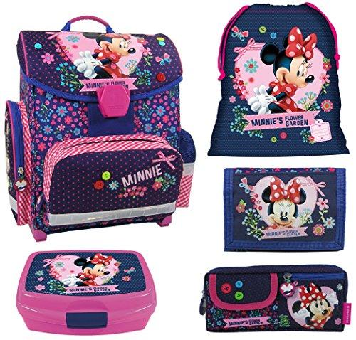 Disney Minnie Mouse Schulranzen Mädchen 1 Klasse Schulrucksack Schultasche | inkl. Federmäppchen, Sportbeutel, Brotdose, Flasche | für Grundschule | leicht ! SET 6 tlg inkl. Sticker von Maximustrade