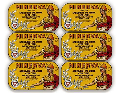 Sardinen in Olivenöl mit Curry | 6 x 120 g | Minerva | Portugal