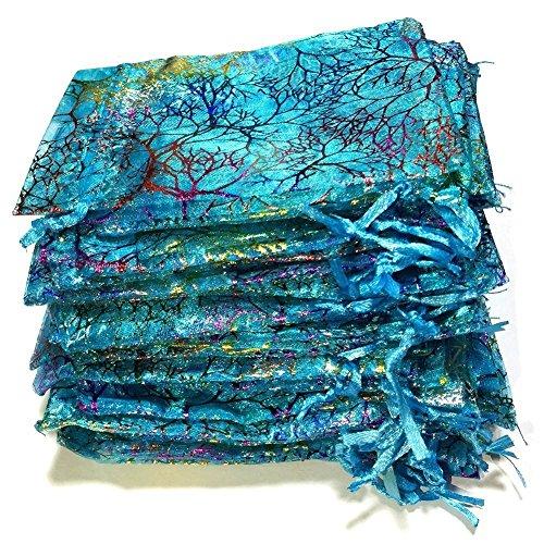 ICYANG 100pcs Organzabeutel Blaue Bronzing Coralline Muster Kordelzug Geschenk Taschen Schmuck Beutel Organzasäckchen,Schöne Kordel Tasche für Candy Party, Hochzeit, Urlaubsereignisse, Baby Dusche (Baby-dusche Für Geschenk-taschen)
