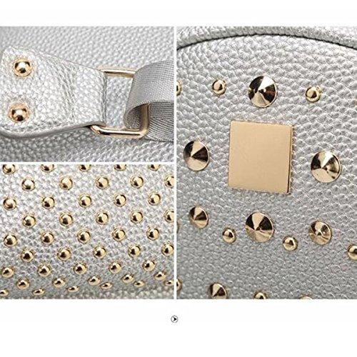 Frauen Art Und Weise Niet College Schulter Rucksack Rucksack Reisetasche Aus Leder Multicolor Gold