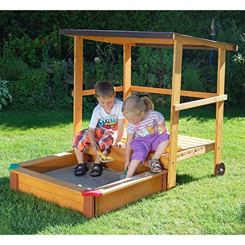 Gaspo Sandkasten mit Spielhaus und Sonnendach, 151x108cm - aus unbehandelten Fichten- & Kiefernholz