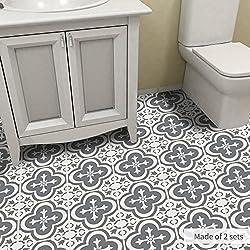 Alwayspon Vinyl Floor Wall Tiles Floor Sticker, Waterproof Non-slip Splashback Tiles Decal for Kitchen Bathroom, Self-adhesive Peel and Stick PVC Wall Sticker DIY Home Decor (Moroccan Tile, 60x120cm)