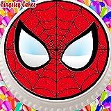 pretagliato commestibile glassa topper per torta–19,1cm rotondo Spiderman maschera