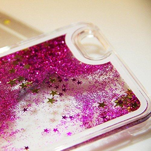 iPhone 6S Hülle, Anfire iPhone 6 Hart PC Ultradünnen Transparent Ctystal Hardcase für Apple iPhone 6 / 6S (4.7 zoll) Premium 3D Liquid BlingTaschenhülle Case Cover Dynamisch Treibsand Flüssige Fließen Hot Pink