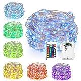 Kohree 50 LEDs Farbige Lichterkette Silberdraht, Batteriebetriebene Lichterkette Bunt 5M/16ft für Schlafzimmer, Party, Außen, Garten, Weihnachtsbaum