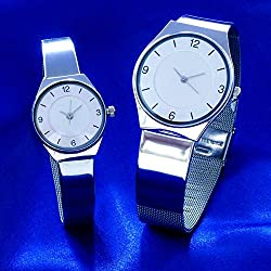 Ultra Slim Men And Ladies Watch Set With Seiko Quartz Movement And Thin Lightweight Stainless Steel Strap