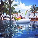 Jasonwell Riesiger aufblasbarer Einhorn Pool Floß mit speziellen schnell Ventilen-200x100x90cm...