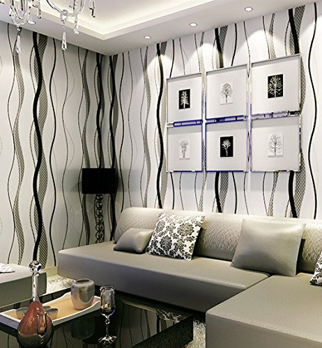 Modern Non-woven stripes Wallpaper 3D Flocking Embossed Wallpaper Roll Living Room Bedroom 0.53m(20.8