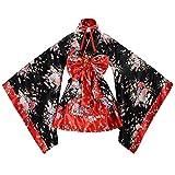 tzm2016 - Disfraz de Cerezo japonés, diseño de Flores, Kimono, Anime Cosplay, Lolita, Halloween, Rojo, X-Large