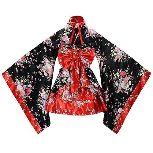 tzm2016 Flower Sakura Druck Kimono Robe Yukata japanischen Kleid, Frauen Cosplay Lolita Kostüm japanische Kimono Anime Kostüme,Nette Frauen Anime Cosplay Französisch Maid Schürze Kostüm XXL