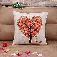 Hidoon® - Funda cuadrada de cojín de algodón, 45 x 45 cm, diseño de árbol con forma de corazón, color naranja