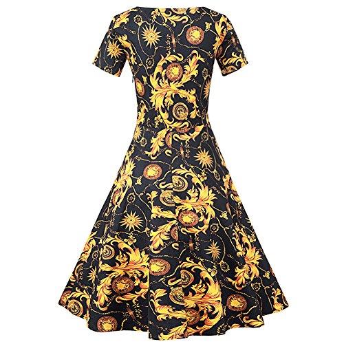 Pinkyee Damen A-Linie Kleid Gelb