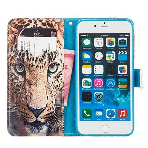 """EUDTH iPhone 6S Coque Peinture Style Housse Flip Magn¨¦tique Portefeuille Etui en Cuir de Protection Case Cover vec B¨¦quille pour Apple iPhone 6 / 6S 4.7"""" -Campanula Dreamcatcher Leopard"""