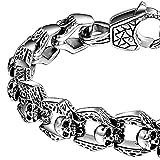 Coolman Armband für Herren Gothic Punk Edelstahl Link 8,5 Zoll Silber Farbe Hoch Poliert Armband - 2