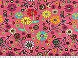 ab 1m: Baumwoll-Jersey, Blumen, fuchsia, 150cm breit