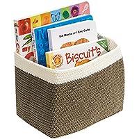 mDesign – Cesta organizadora versátil y de gran calidad (pequeña) – Cesta de tela de color marrón y blanco – Organizador para bebés – Lavable en lavadora