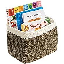 mDesign - Recipiente tejido, organizador del armario del bebé/de la guardería; organiza juguetes, libros, toallas, pañales - chico - Kaki/marfil