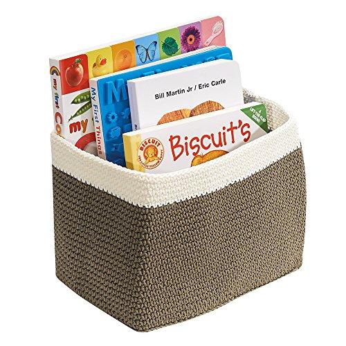 mDesign Contenitore Organizzatore a Maglia Armadio Camera dei Bambini per Giocattoli, Libri, Asciugamani, Pannolini - Piccolo, Khaki/Avorio