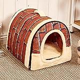 Semoss Retro Ladrillo Diseño Casa Perro Exterior Cama Perro Grande Impermeable Jaula Perro Plegable Interior Perrera Perros para Perros,Gatos,Conejos y Animales,Tamaño:M,45 cm X 35 cm