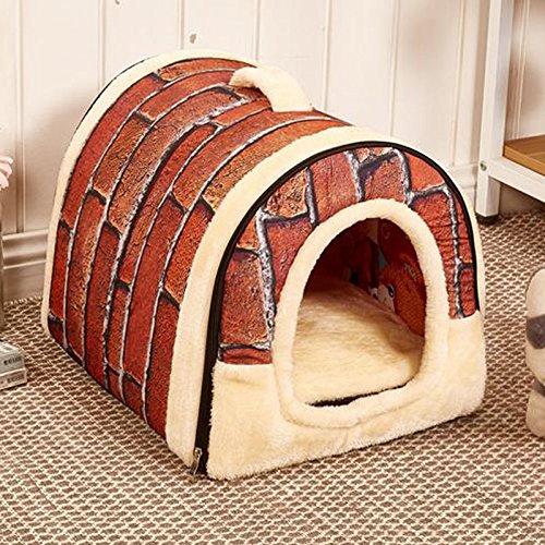 Semoss Retro Ziegel Modell Faltbar Hundehaus Hundehöhle Hundehütte Hundekorb Outdoor und Indoor Haustierhaus Katzenhöhle für Hunde,Welpen,Katzen,Größe:M,45 cm X 35 cm