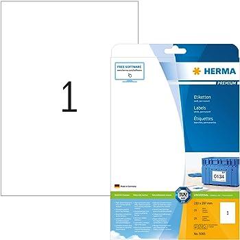 Menge nach Auswahl weiß Universal Etiketten 210 x 297 mm HERMA PREMIUM 4428