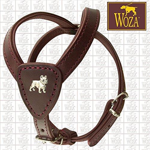 Woza Premium Geschirr FRANZÖSISCHE Bulldogge Vollleder GRÖßE 2,3/52CM Vollleder Burgund RINDNAPPA Burgund GEBUGGT Handmade Harness
