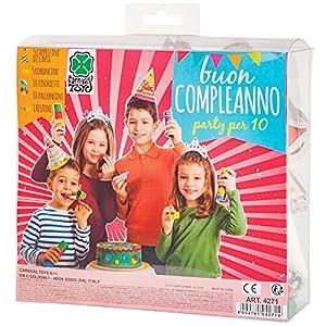 Carnival Toys - Cotillón cumpleaños: 5 gorros, 5 coronas, 1 festón, 10 matasuegras, 10 globos, en caja de pvc, multicolor (4271)