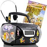Chaîne hi-fi stéréo lecteur CD AUX magnétophone Á cassette noir autocollants