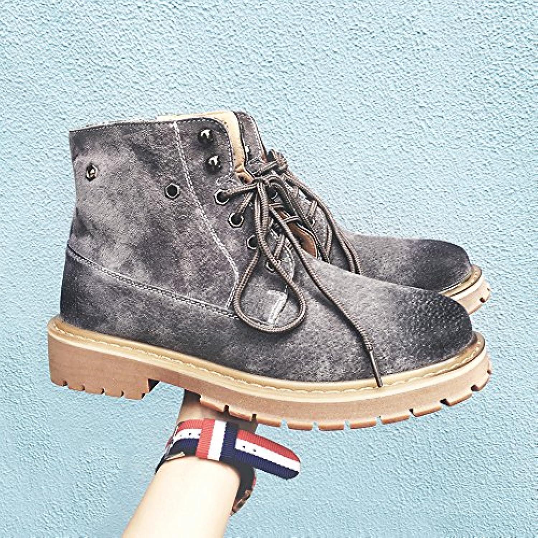 HL-PYL botas botas Martin Coreano Inglés alto hombres zapatos botas cortas botas Retro,39,gris  -