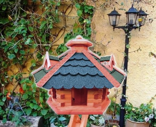 XXL Vogelhaus, Gartendeko , große Größen, auch mit vogelhausständer und Silo, ACHTUNG kein Bausatz von amazon oder zum Bemalen aus Holz, behandelt Futterhaus mit GRÜN moosgrün + GRAU Dach Schindel mit Silo + Ständer - 2