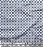 Soimoi Blau Seide Stoff künstlerisch geometrisch Stoff