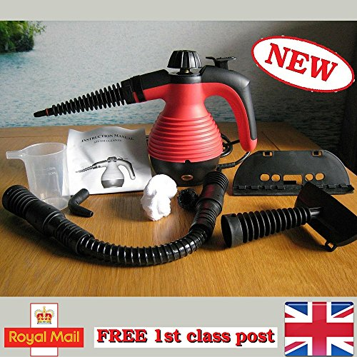 Electric Handheld Steam Cleaner Portable Hand Held Powerful Steamer Cleaning Set with accessories (Red, steam cleaner) by MarkUK®