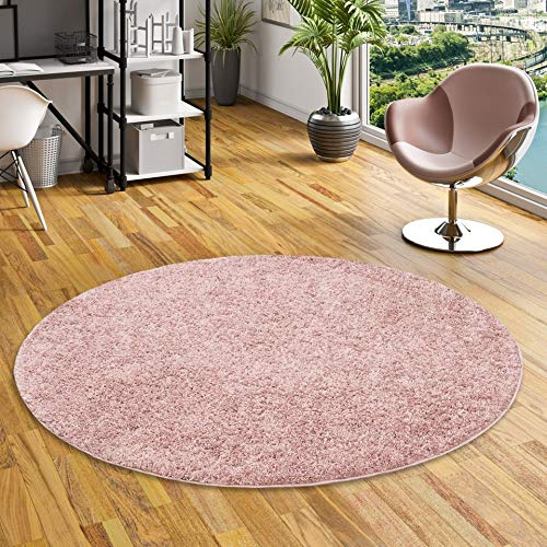Pergamon aloha - tappeto shaggy a pelo lungo - misto rosa antico - rotondo - 4 dimensioni