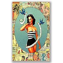 boxprints Pin Up Girl Vintage Retro Style Poster artimagen Imagen Pequeña Grande