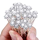 40 Pack Wedding Bridal Pearl Flower Crystal Hair Pins Clips, White