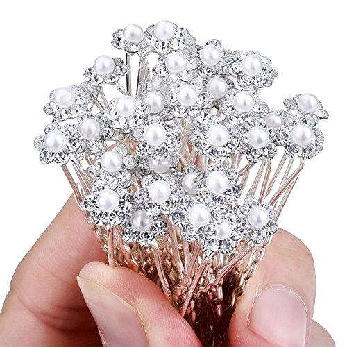 40 Stück Hochzeit Brautperlen Haarnadeln Haarschmuck Strass Blumen Kristall Haar Stifte Clips, Weiß