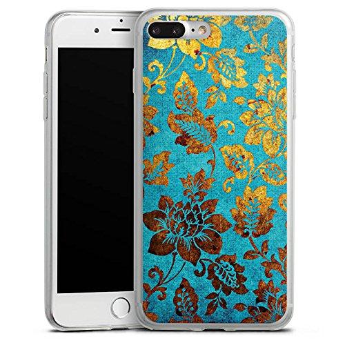 Apple iPhone X Slim Case Silikon Hülle Schutzhülle Blumen Muster Gold Silikon Slim Case transparent