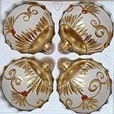 direkt-aus-polen Matte weiß und Goldene Weihnachtskugeln mit Golden glänzenden Applikationen und Gelben Steinchen Durchmesser 10 cm 4er Set