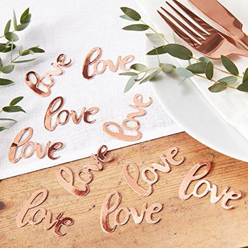 """Ginger Ray """"Beautiful Botanics"""": Konfetti Roségold Schriftzug """"Love"""", 14 Gramm"""