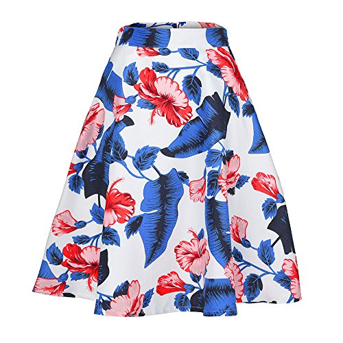 MIRRAY Damen Rock Damen Rock Vintage Sommer Blumendruck hohe Taille Skater Mini Minirock