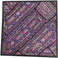 "Mogul Interior Indian Pillow Sham Kutch Embroidered Patchwork Purple Tapestry 18"" X 18"""
